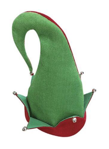Adult Elf Hat Costume With Jingle Bells Red Green Santa/'s Helper Christmas