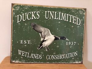 Made in USA Est 1937 Ducks Unlimited Wetlands Conservation New Tin Sign
