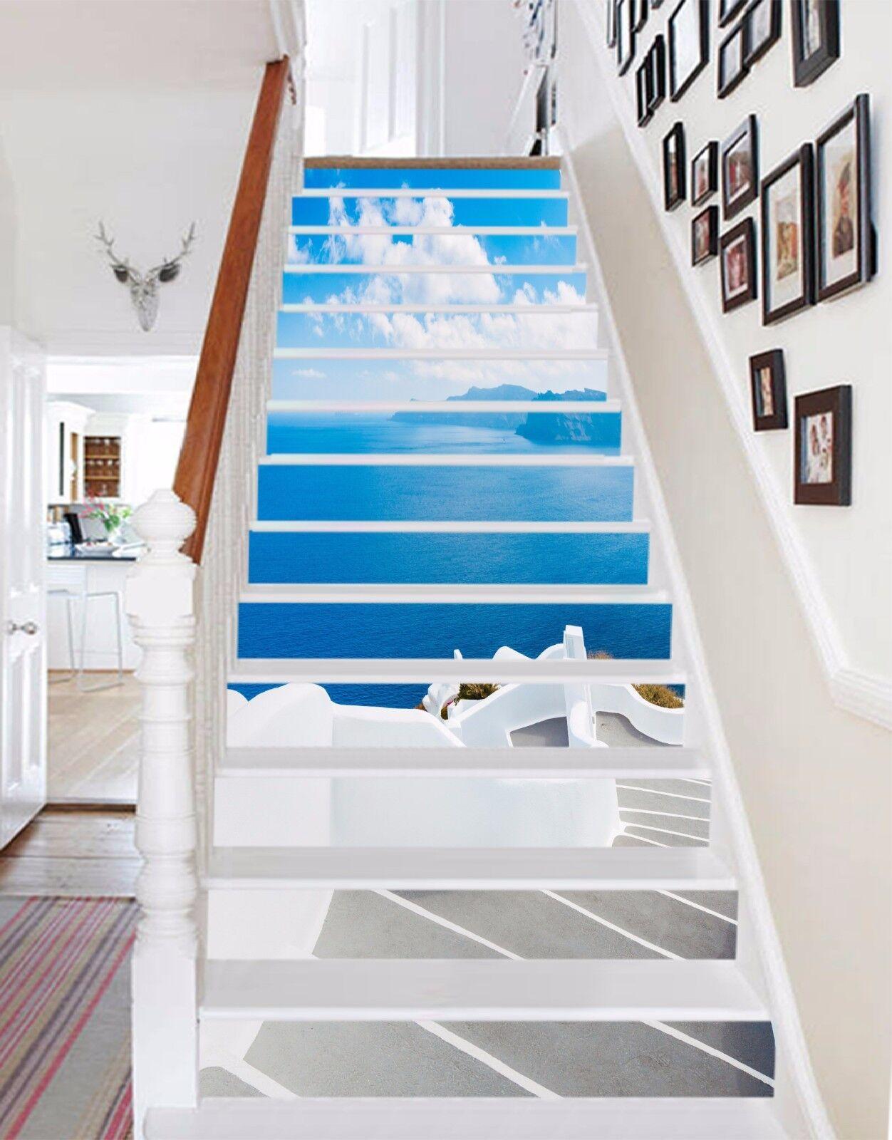 3D Stairs Big Sea 573 Risers Decoration Photo Mural Vinyl Decal Wallpaper CA