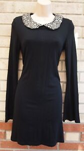 WAREHOUSE-BLACK-BEADED-COLLAR-DIAMONTE-FLARE-LONG-SLEEVE-A-LINE-PARTY-DRESS-10-S