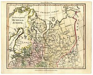 1804 Copper Engraving Hand Colored Map Northern Russia Europe