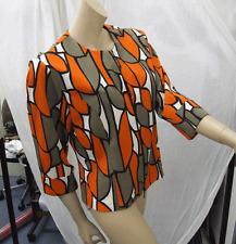 Joseph Ribkoff 10 BNWT Exquisite Orange Sepia Black &White Classic Zip-Up Jacket