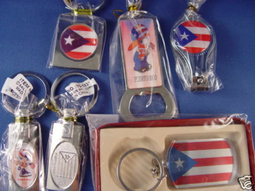 6 MIX PUERTO RICO METAL KEY CHAINS NEW