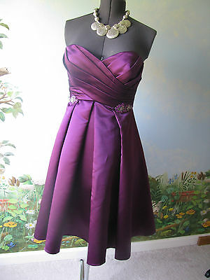 Belsoie Women's Purple Strapless Sweetheart Formal Cocktail Prom Dress  Size 10