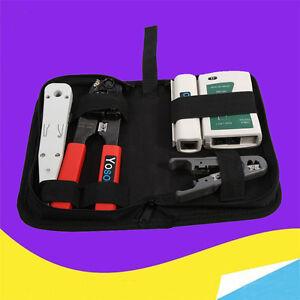 4 tlg netzwerk werkzeug set tasche crimpzange abisolierzange kabeltester zh 04 ebay. Black Bedroom Furniture Sets. Home Design Ideas