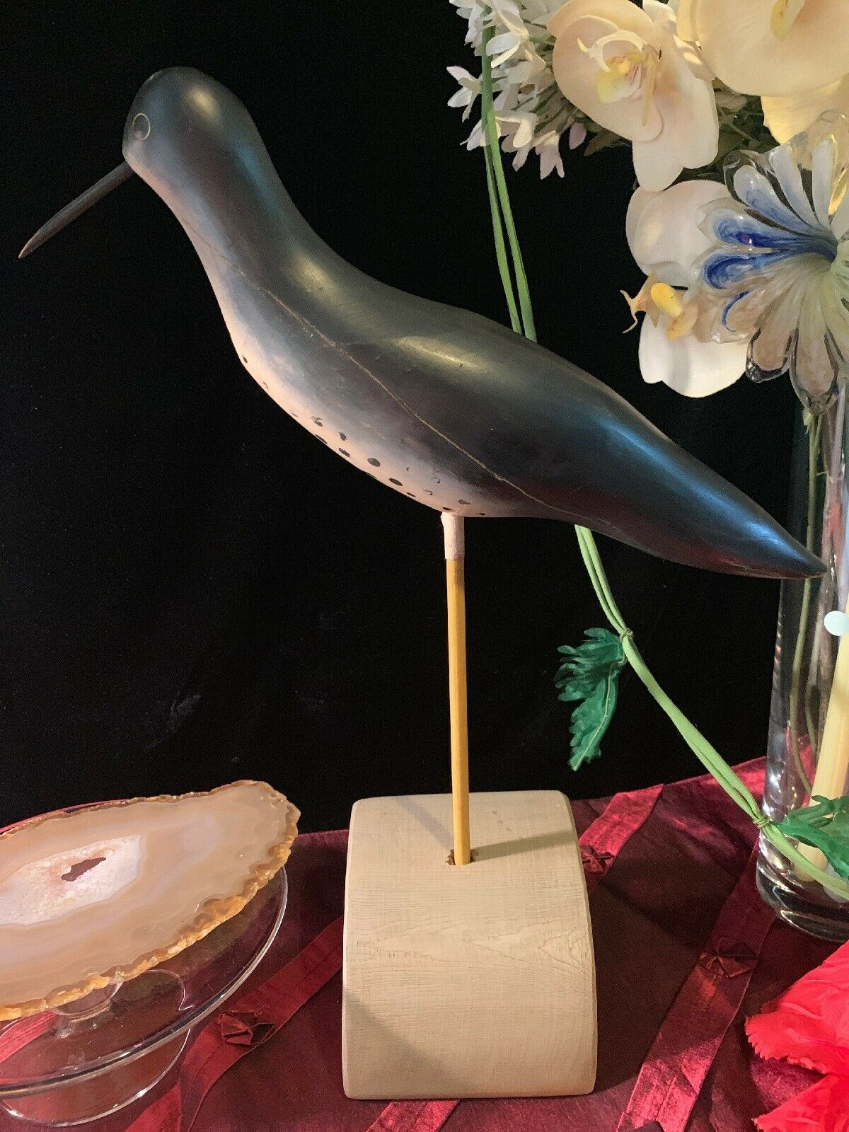 VTG Primitive Decoy Solid Wood  Handmade Carved Painted Shorebird w  Stand 15.5 T  large discount