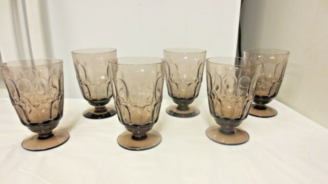 Lot 6 Older Fostoria marked Footed Thumbprint Amethyst Goblets, Drink Glasses