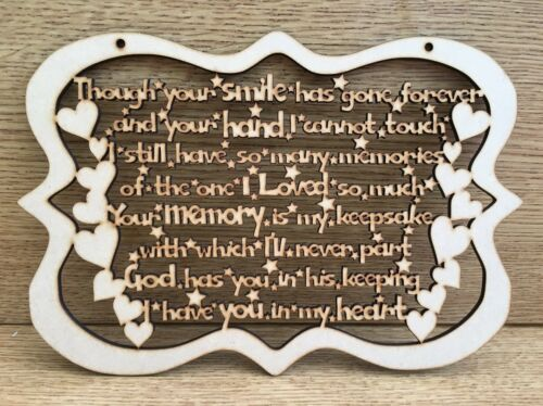 3.3MM MDF  FRAMED MEMORY POEM CRAFT SHAPE 25CM X 17CM