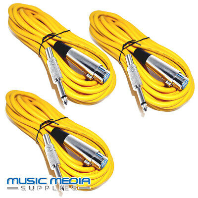 DJ Stage Schools 3X 6 Metre 6m Microphone Mic leads cable Blue Colour DJ