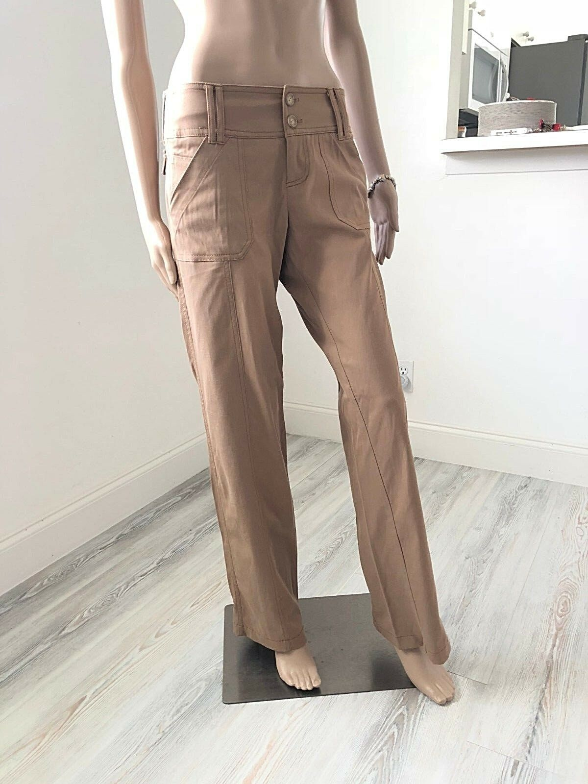 EQUESTRIAN DESIGNS Stretch Casual Pants Draped Fabric Relaxed Fit Khaki Sz S