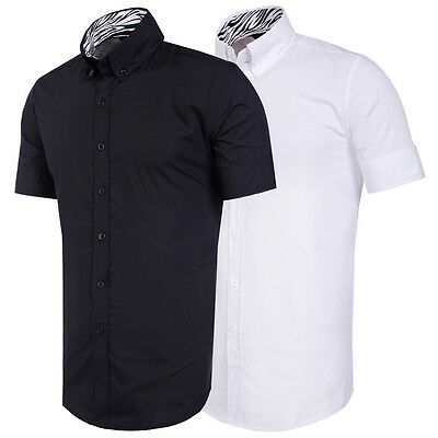 LUXURY Mens Stylish Shirts Short Sleeve Slim Fit Shirts Casual Tops Tee Shirts