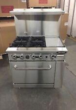 New 36 Range 4 Burners 12 Griddle 1 Full Oven Stove Nat Gas Free Liftgate Del