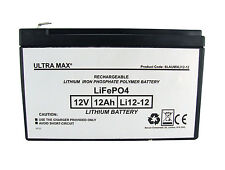 ULTRAMAX LITHIUM LIPO 12V 12AH (as 14Ah & 15Ah) EMERGENCY LIGHT LIGHTING BATTERY