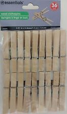 CLOTHES PINS WOODEN SPRING-CLAMP 36 Pins/Pk Laundry Clothes Lines Crafts