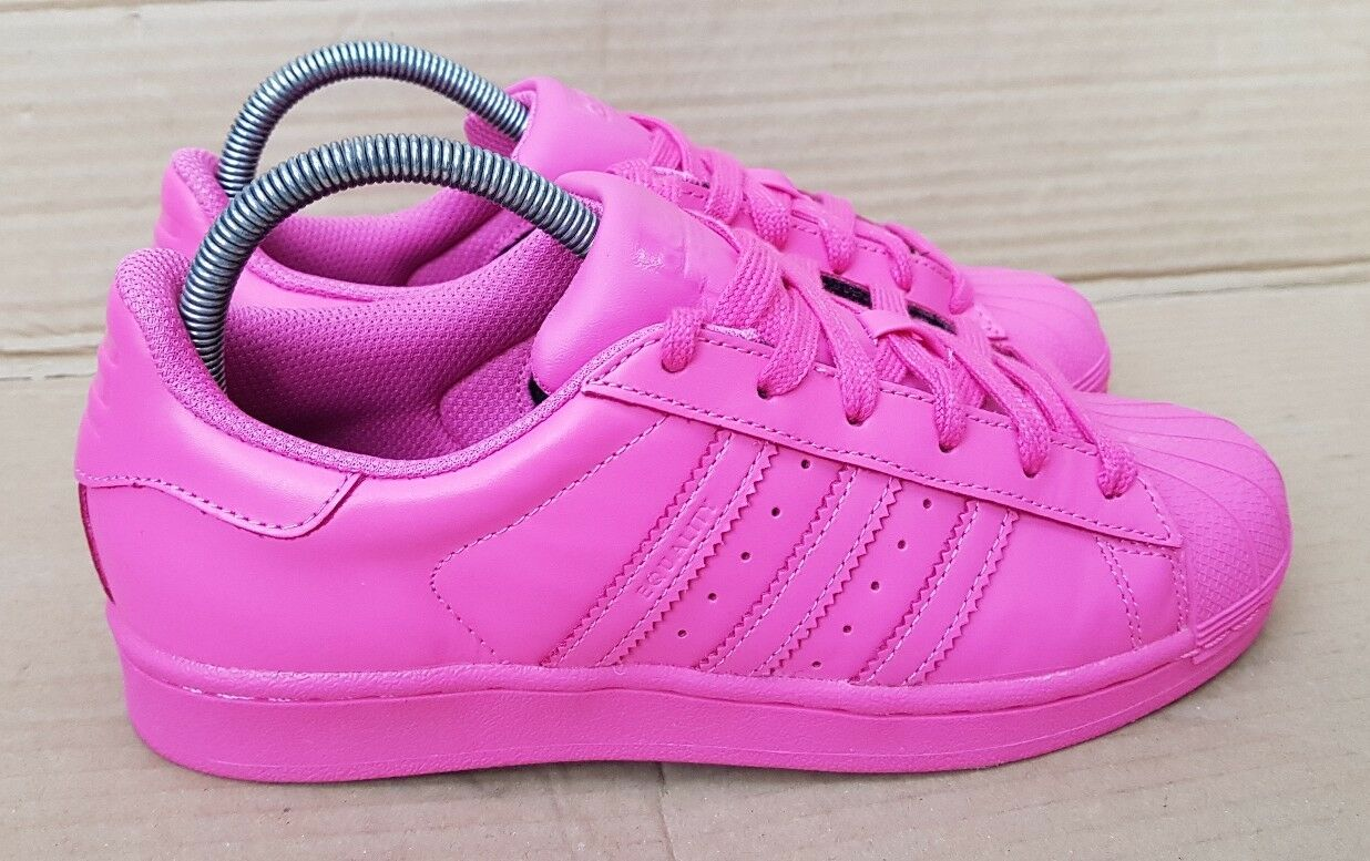 ADIDAS SUPERSTAR PHARRELL WILLIAMS SUPERCOLORS TRAINERS SIZE 7 UK PINK EXCELLENT