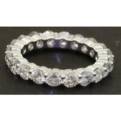 Heavy Platinum 4.0CT diamond 20-stone shared prong eternity band ring size 6.75