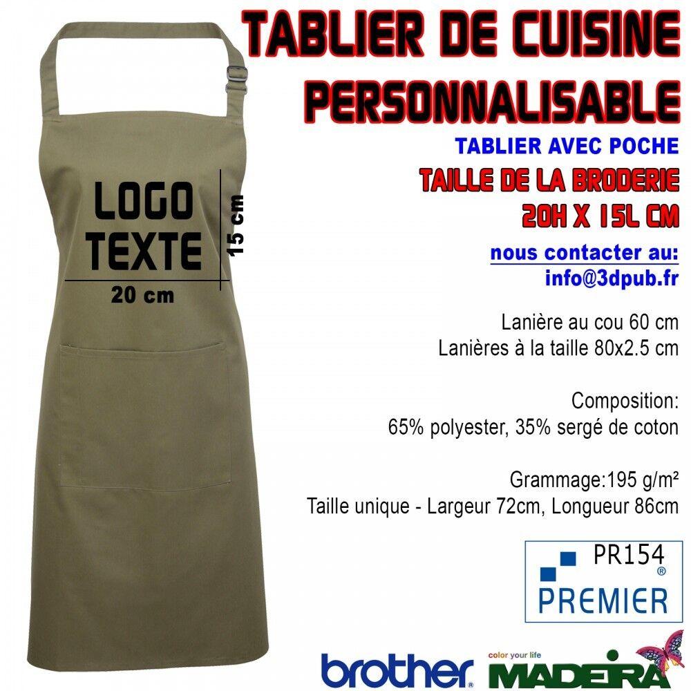 5X Tablier Avec Poche VERT OLIVE Brodé Personnalisable Café Bar Restaurant