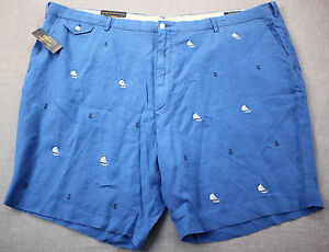 RALPH LAUREN Men Blue Nautical Sailboats & Anchors Linen Shorts NWT 46 BIG $145