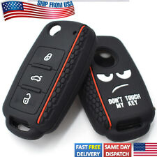 Black//Blue Silicone Protective Key Fob Cover kwmobile Car Key Cover Compatible with VW Skoda SEAT 3 Button Car Key
