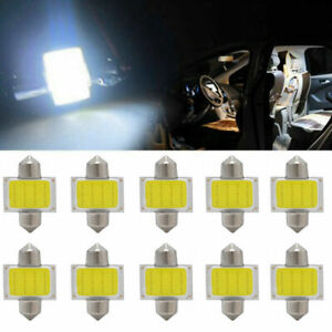 50pcs 31mm 12 SMD COB LED T10 6W White Light Car Interior Lights Dome Lamp Bulbs