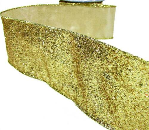 "5 Yd Christmas Shedding Gold Fleck Sparkly Wired Ribbon 2 1//2/""W"