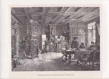 Schloss Wülflingen Zimmer innen Winterthur Schweiz HOLZSTICH um 1880