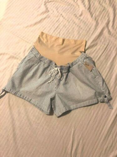 XL,XXL a:glow Maternity Shorts; Invertible Full Belly Elastic Waist;Blu Stripe
