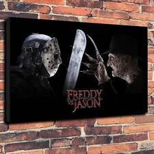 "Freddie Vs Jason Printed Canvas A1.30""x20""~Deep 30mm Frame Halloween Friday 13th"