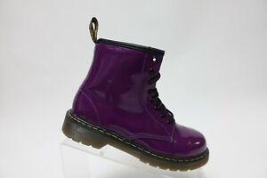DR-MARTENS-Delaney-Purple-Sz-5-Women-Patent-Leather-Side-Zip-Combat-Boots