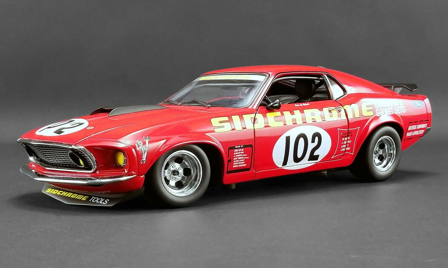 ACME 1 18 Sidcromo 1969 Trans Am Mustang rosso Diecast modellolo auto A1801829