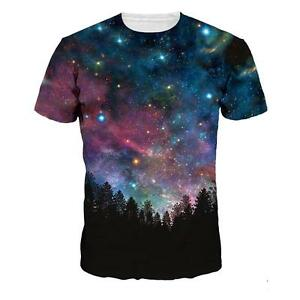 Night-Trees-Space-Galaxy-3d-Graphic-Men-039-s-Women-039-s-Short-Sleeve-Crew-Tee-T-Shirt