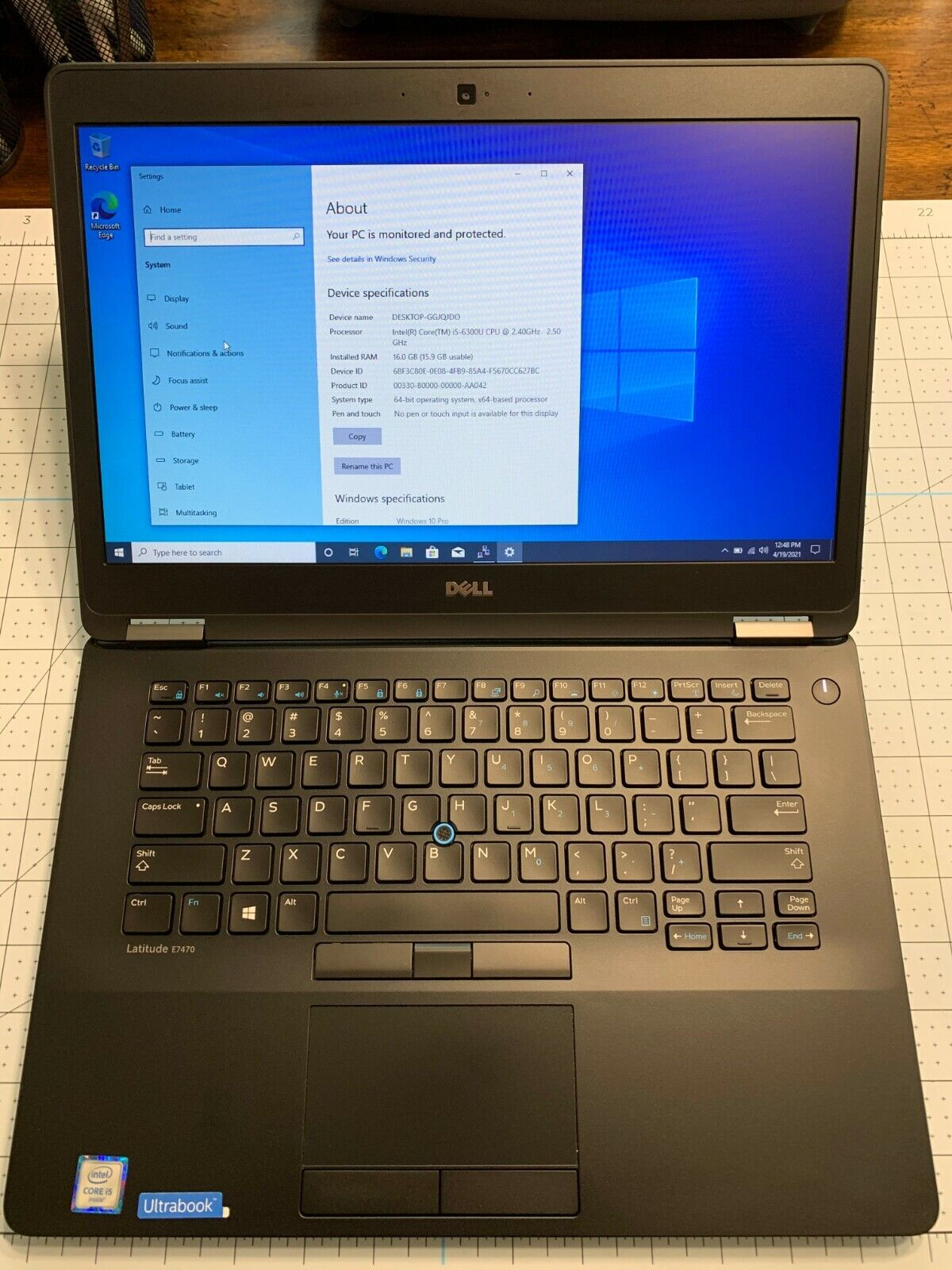 """Dell Latitude E7470 14"""" Intel Core i5-6300U 2.4GHz, 256GB SSD, 16GB RAM Laptop"""