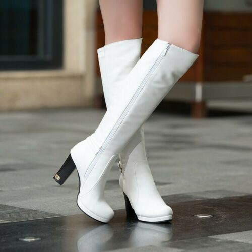 Women/'s Fashion Knee High Boots Block Solid Zip Up Round Toes Casual High Heels