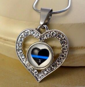 Police Blue Line Heart Small Snap Button Crystal Heart Necklace