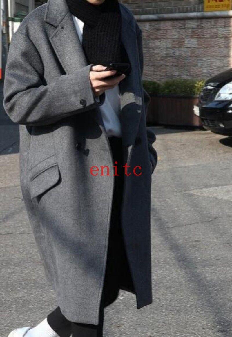 Mens Winter Loose Wool Blend Trench Coat Oversize Overcoat Outwear Parka Korean