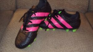 deb6314a2c5 ADIDAS ACE 16.4 FXG-MEN S SOCCER CLEATS-SIZE 6 1 2-BLACK PINK GREEN ...