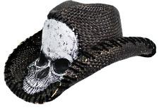 Peter Grimm Tripp Drifter Rocker Stitch Skull Western Straw Black Hat 1 Size