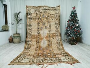 "Moroccan Vintage Zayan Handmade Wool Carpet 4'8""x5'9 Floral Beige and Brown  Rug"