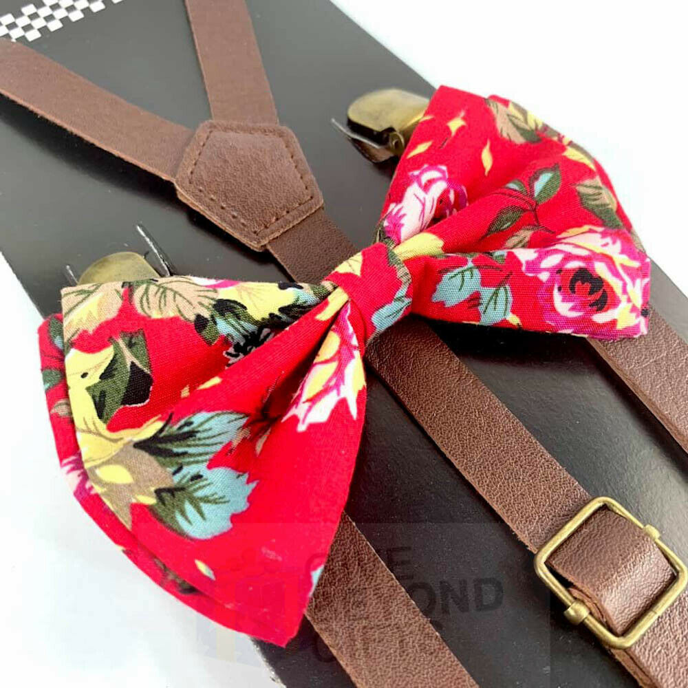 Suspender and Bow Tie Adults Skinny Brown Leather Hot Pink Floral Formal Wear