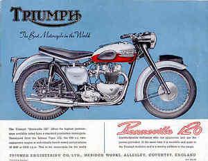 Triumph Brochure T120 Bonneville Bonnie 1959 Sales Catalog Catalogue