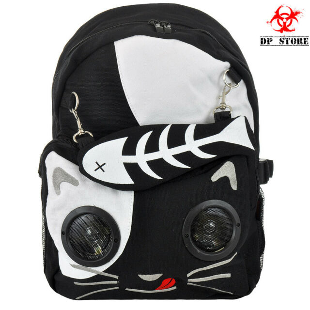 BACKPACK GOTHIC FISH KITTY SPEAKER WORK ON IPOD IPHONE MP3 PUNK EMO GOTH BAG