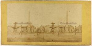 Francia Parigi Place Da La Concorde Foto Stereo Gaillard c1865 Albumina Vintage