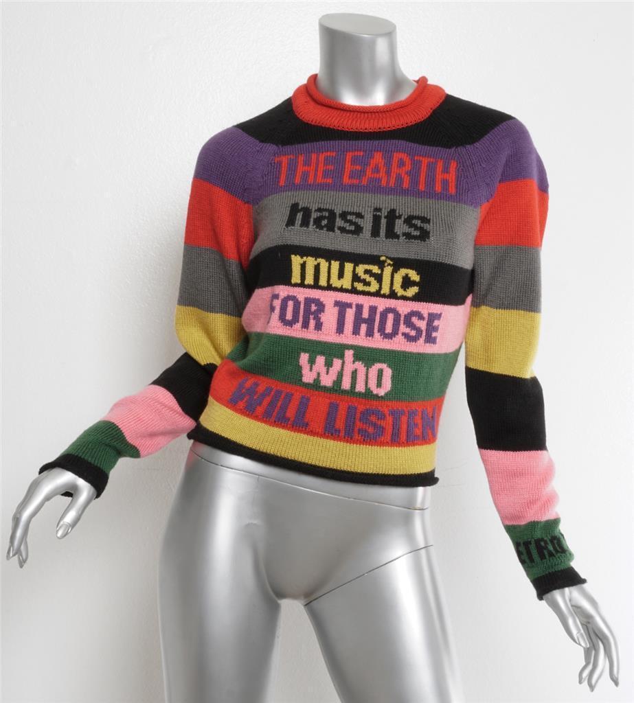 ETRO 2017 Multi-Farbe INTARSIA Striped MUSIC Raglan Crewneck Sweater Top 2-38