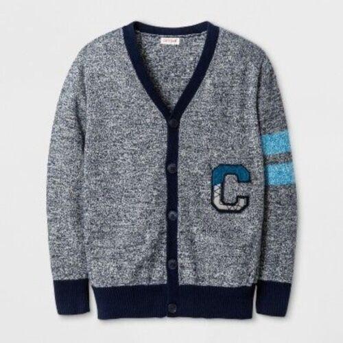 6-7 Small Cat /& Jack Boys/' Blue V-Neck Letterman Cardigan Sweater Size 4-5 XS