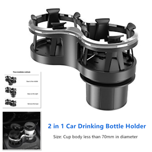 Car Water Cup Holder Universal Car Double Hole Cup Holder with Adjustable Base for Water Bottle Drinks Storage Bracket Stand