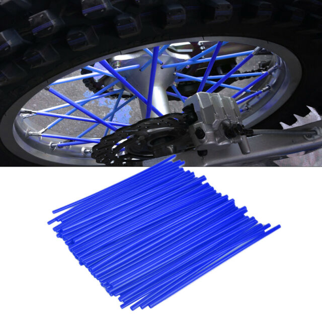 24cm Blue Enduro Wheel Spoke Wrap Covers Motocross Motorcycle Dirt Bike Wheels Rim Spoke Wraps Skins Cover 72pcs