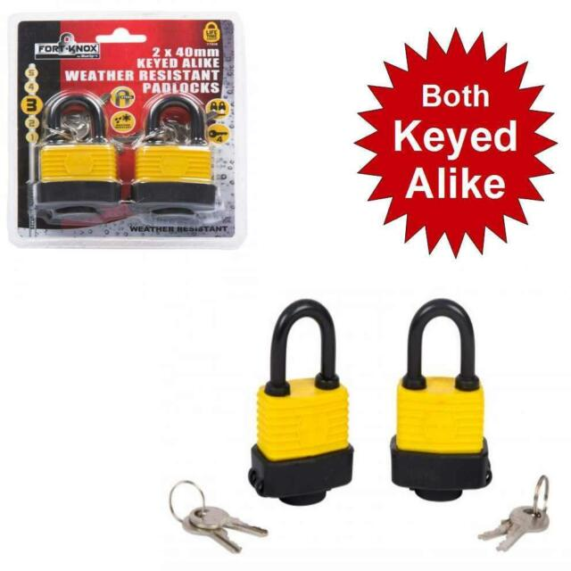 Pack of 2 Water Weather Resistant 40mm Keyed Alike Padlocks with 4 keys