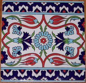 "10 Raised Red, Green & Blue 8""x8"" Iznik Floral Pattern Ceramic Tile BORDER"