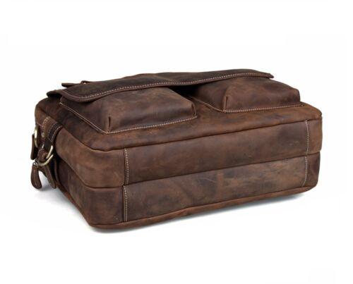 Vintage Leather Briefcase Messenger Bag 17 In Laptop Satchel Office Shoulder Bag
