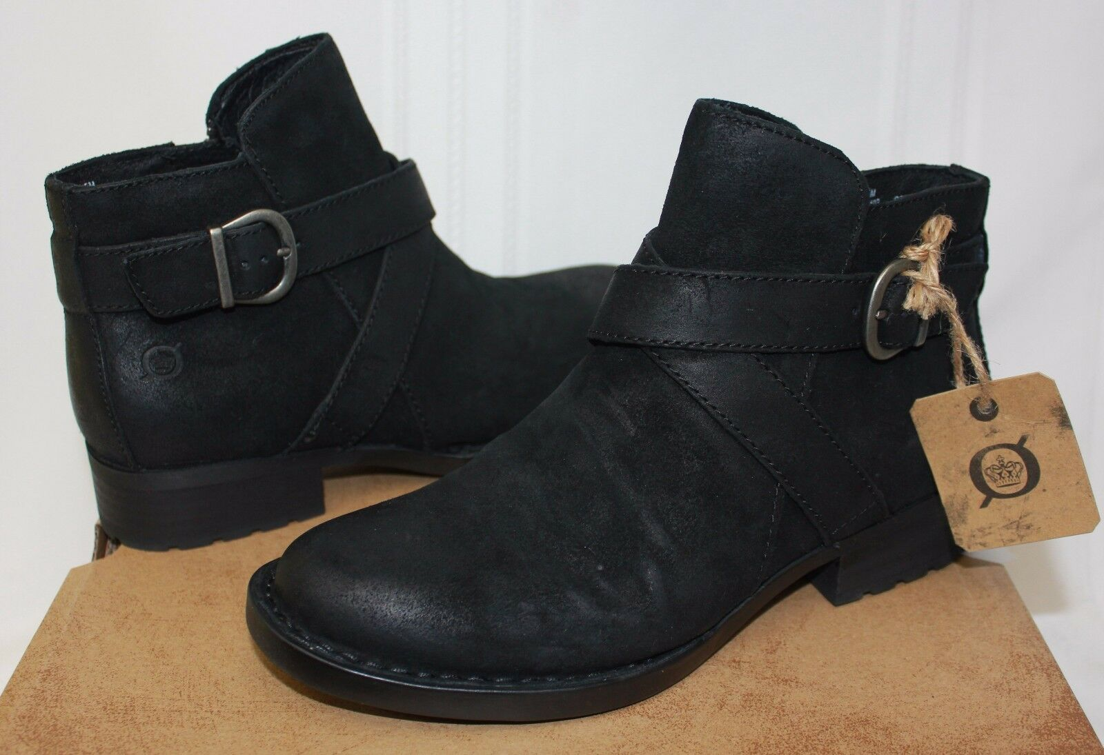 Born Women's Trinculo Black Distressed Leather booties New With Box